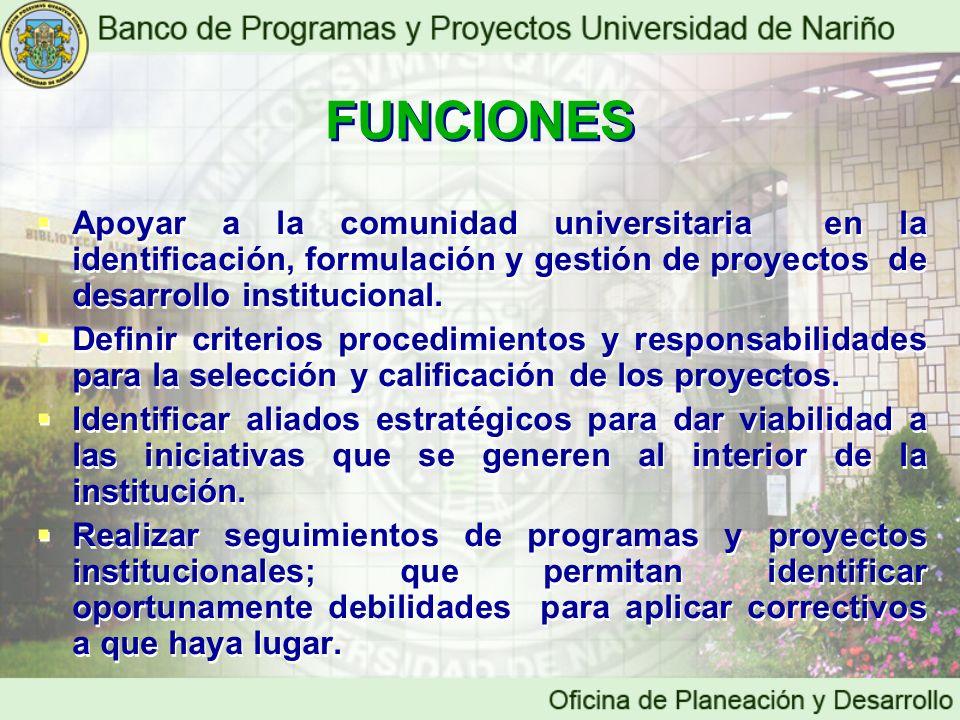 FUNCIONES Apoyar a la comunidad universitaria en la identificación, formulación y gestión de proyectos de desarrollo institucional.