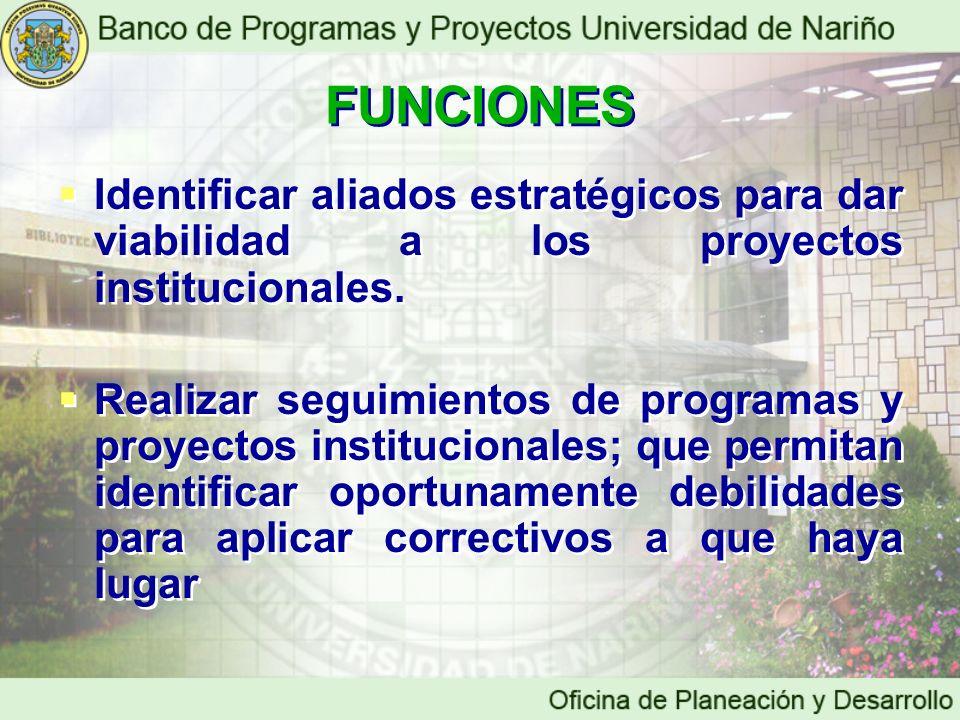 FUNCIONES Identificar aliados estratégicos para dar viabilidad a los proyectos institucionales.