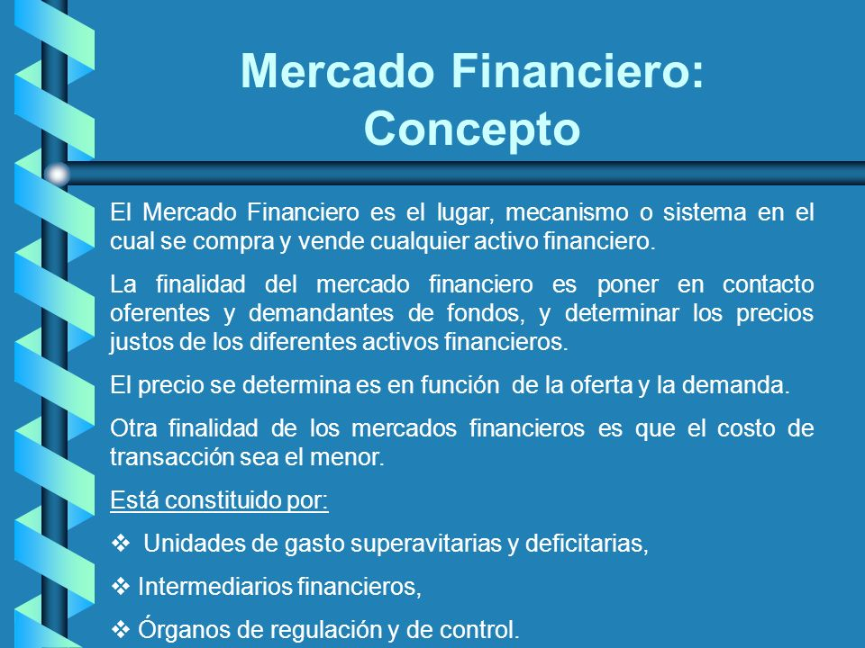 Mercado Financiero: Concepto