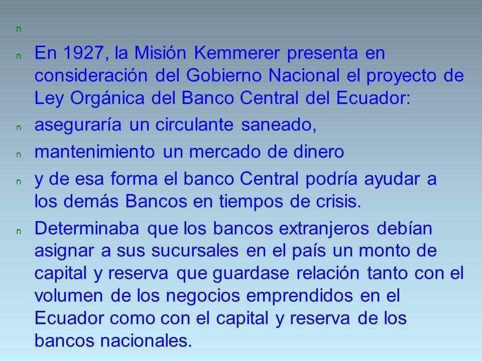 En 1927, la Misión Kemmerer presenta en consideración del Gobierno Nacional el proyecto de Ley Orgánica del Banco Central del Ecuador:
