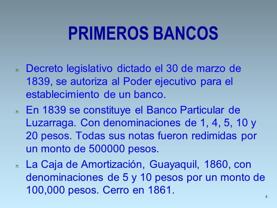 PRIMEROS BANCOS Decreto legislativo dictado el 30 de marzo de 1839, se autoriza al Poder ejecutivo para el establecimiento de un banco.