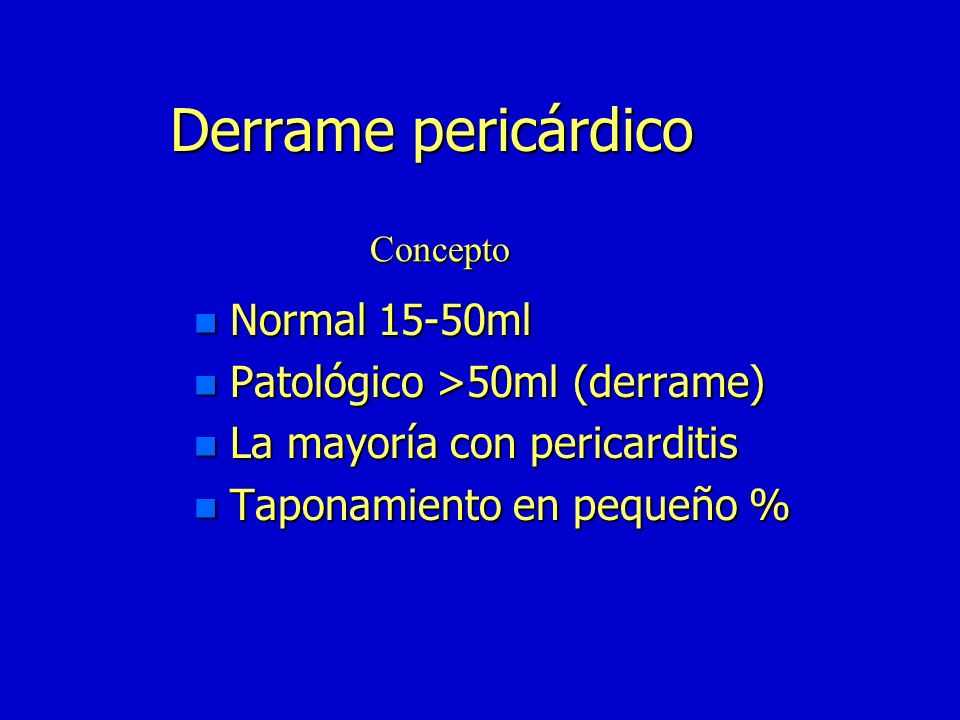 Derrame pericárdico Normal 15-50ml Patológico >50ml (derrame)