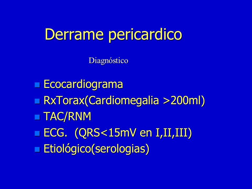 Derrame pericardico Ecocardiograma RxTorax(Cardiomegalia >200ml)