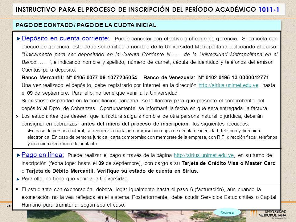 PAGO DE CONTADO / PAGO DE LA CUOTA INICIAL