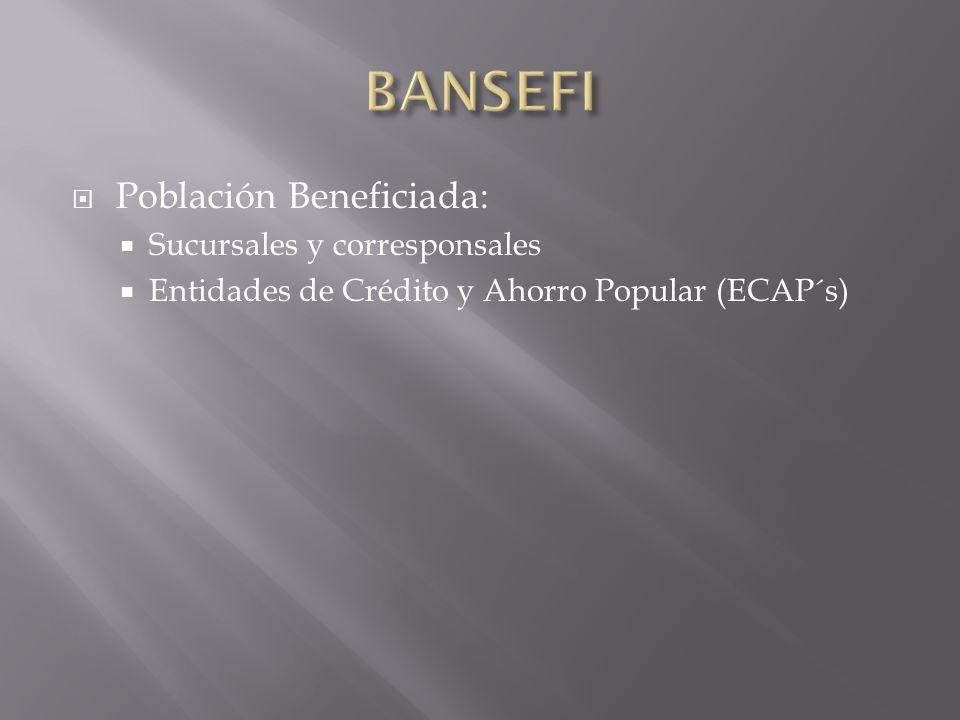 BANSEFI Población Beneficiada: Sucursales y corresponsales