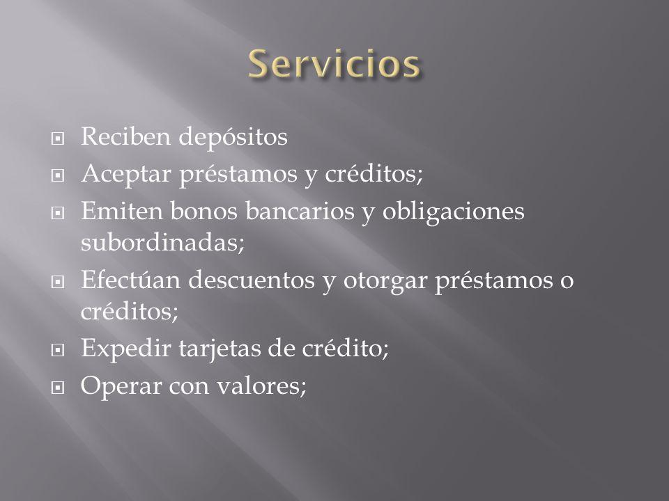 Servicios Reciben depósitos Aceptar préstamos y créditos;