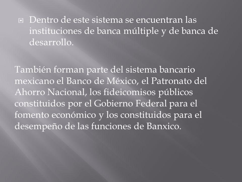 Dentro de este sistema se encuentran las instituciones de banca múltiple y de banca de desarrollo.