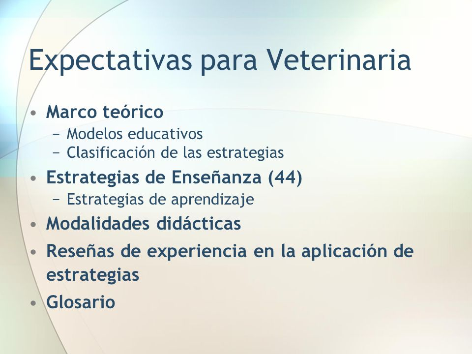 Expectativas para Veterinaria
