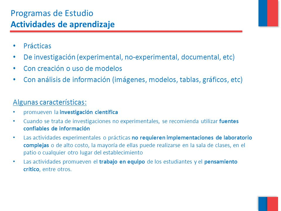 Programas de Estudio Actividades de aprendizaje