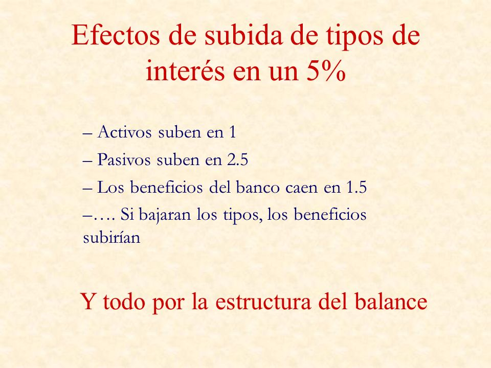Efectos de subida de tipos de interés en un 5%