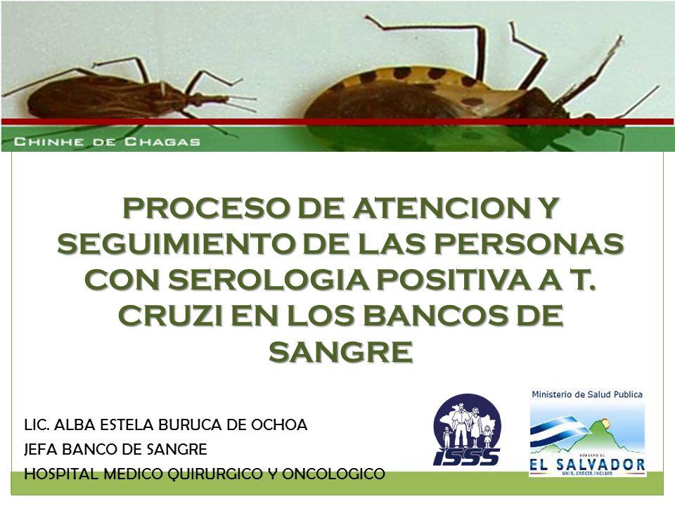 PROCESO DE ATENCION Y SEGUIMIENTO DE LAS PERSONAS CON SEROLOGIA POSITIVA A T. CRUZI EN LOS BANCOS DE SANGRE