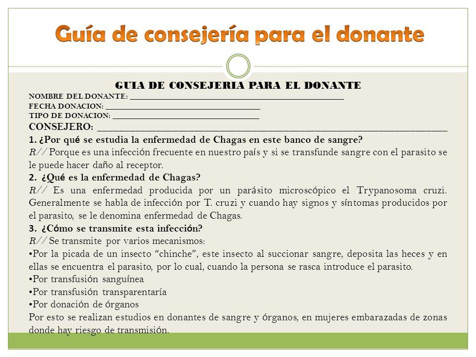 Guía de consejería para el donante