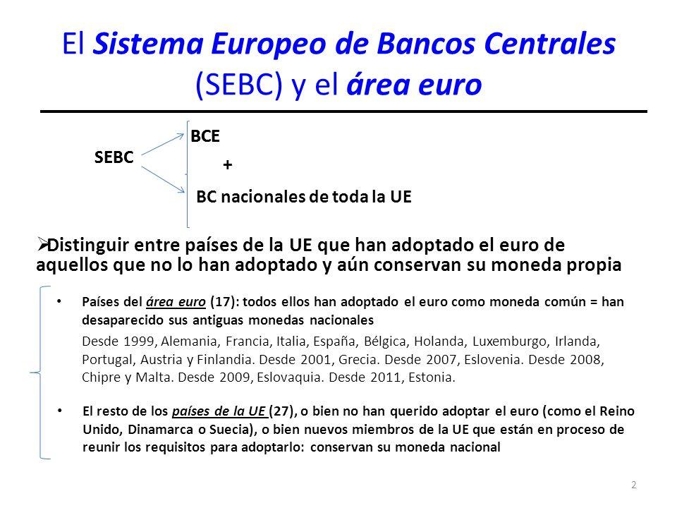 El Sistema Europeo de Bancos Centrales (SEBC) y el área euro