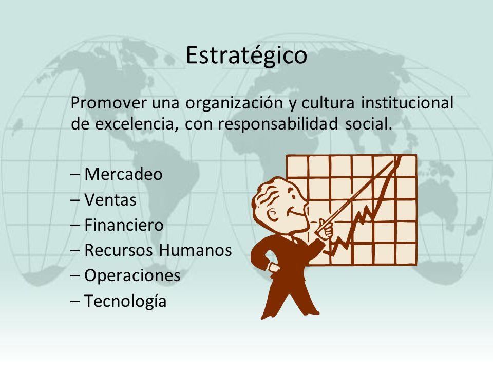 Estratégico Promover una organización y cultura institucional de excelencia, con responsabilidad social.