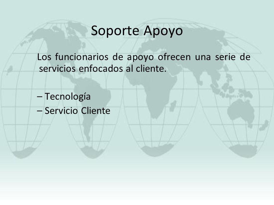 Soporte Apoyo Los funcionarios de apoyo ofrecen una serie de servicios enfocados al cliente. Tecnología.