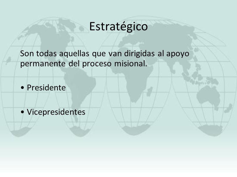 Estratégico Son todas aquellas que van dirigidas al apoyo permanente del proceso misional. Presidente.