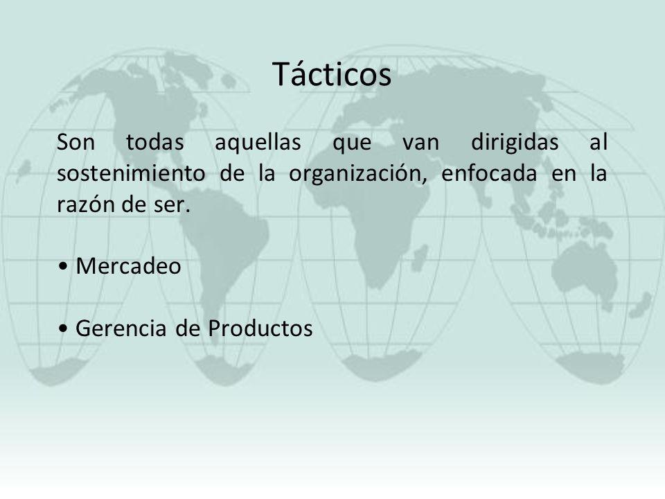 Tácticos Son todas aquellas que van dirigidas al sostenimiento de la organización, enfocada en la razón de ser.