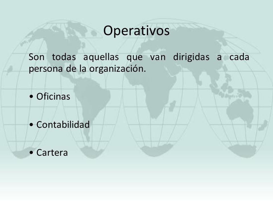 Operativos Son todas aquellas que van dirigidas a cada persona de la organización. Oficinas. Contabilidad.