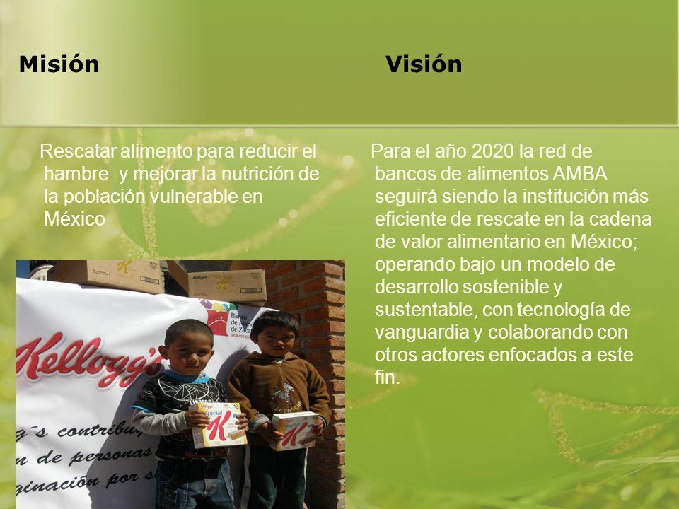 Misión Visión Rescatar alimento para reducir el hambre y mejorar la nutrición de la población vulnerable en México.