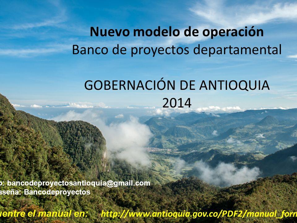 Nuevo modelo de operación Banco de proyectos departamental