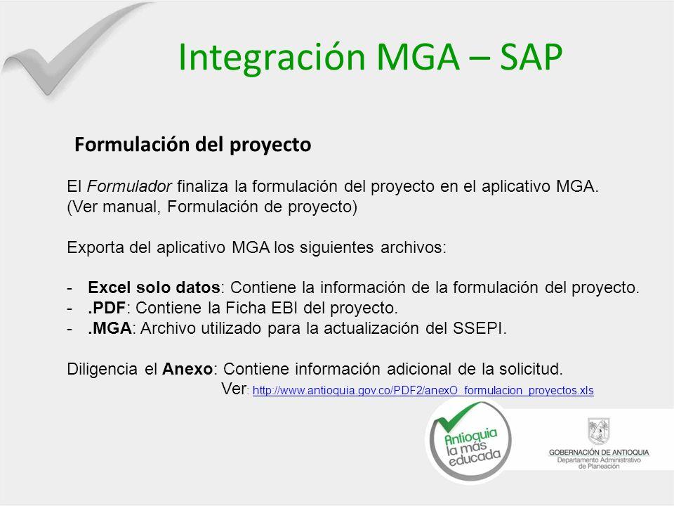 Integración MGA – SAP Formulación del proyecto