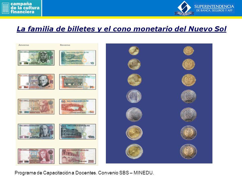 La familia de billetes y el cono monetario del Nuevo Sol