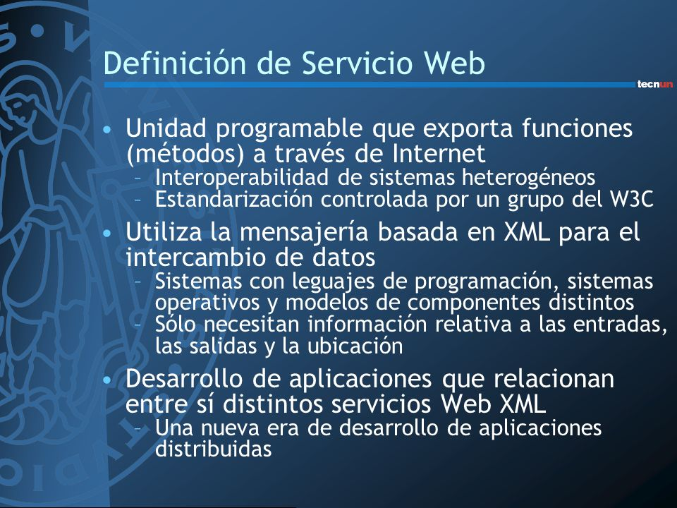Definición de Servicio Web