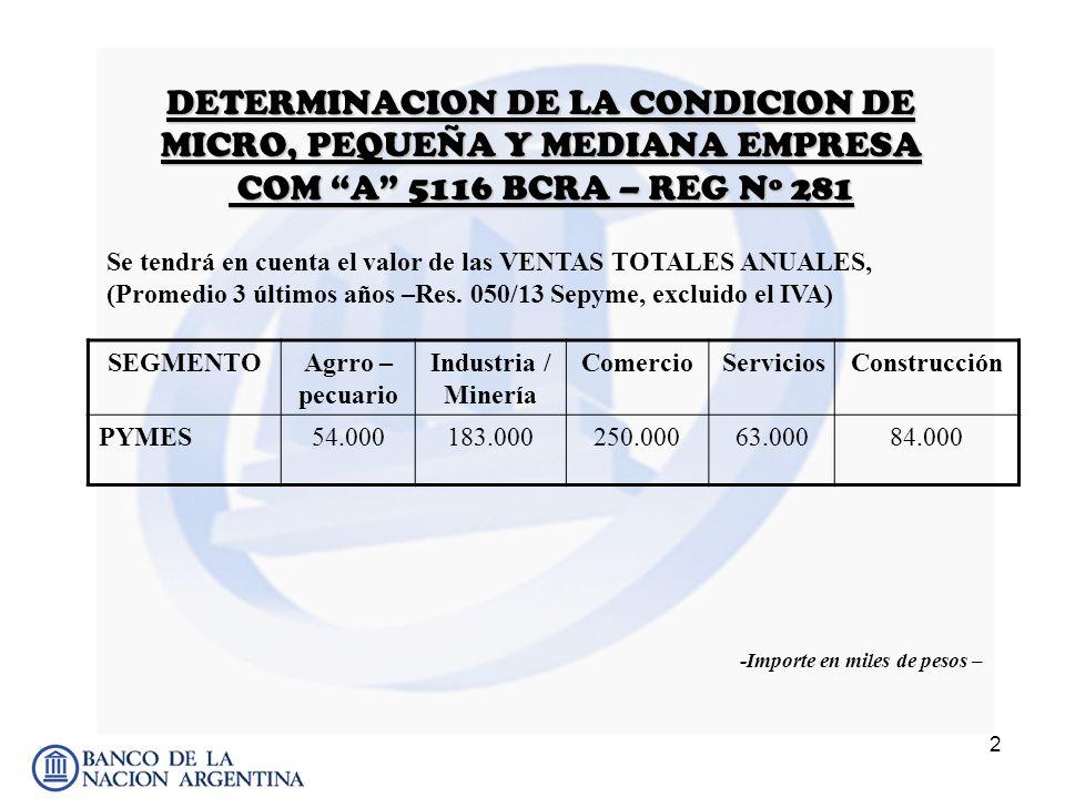 DETERMINACION DE LA CONDICION DE MICRO, PEQUEÑA Y MEDIANA EMPRESA COM A 5116 BCRA – REG Nº 281