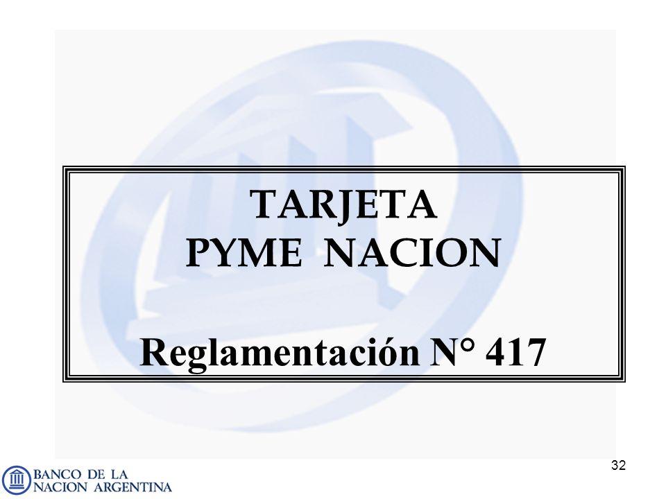 TARJETA PYME NACION Reglamentación N° 417