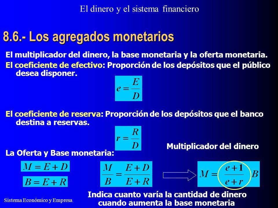 8.6.- Los agregados monetarios