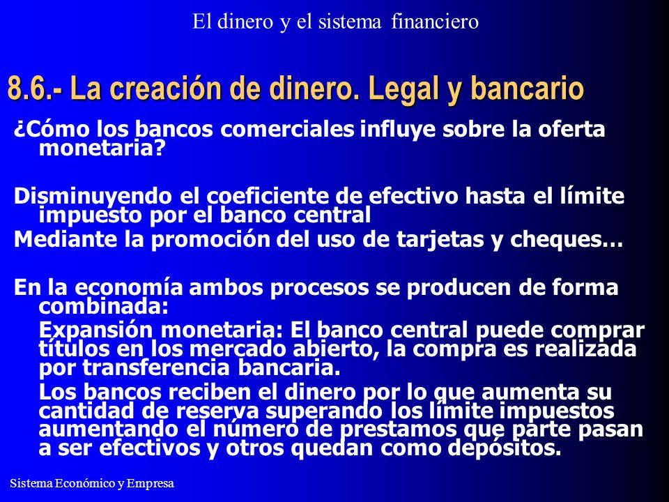 8.6.- La creación de dinero. Legal y bancario