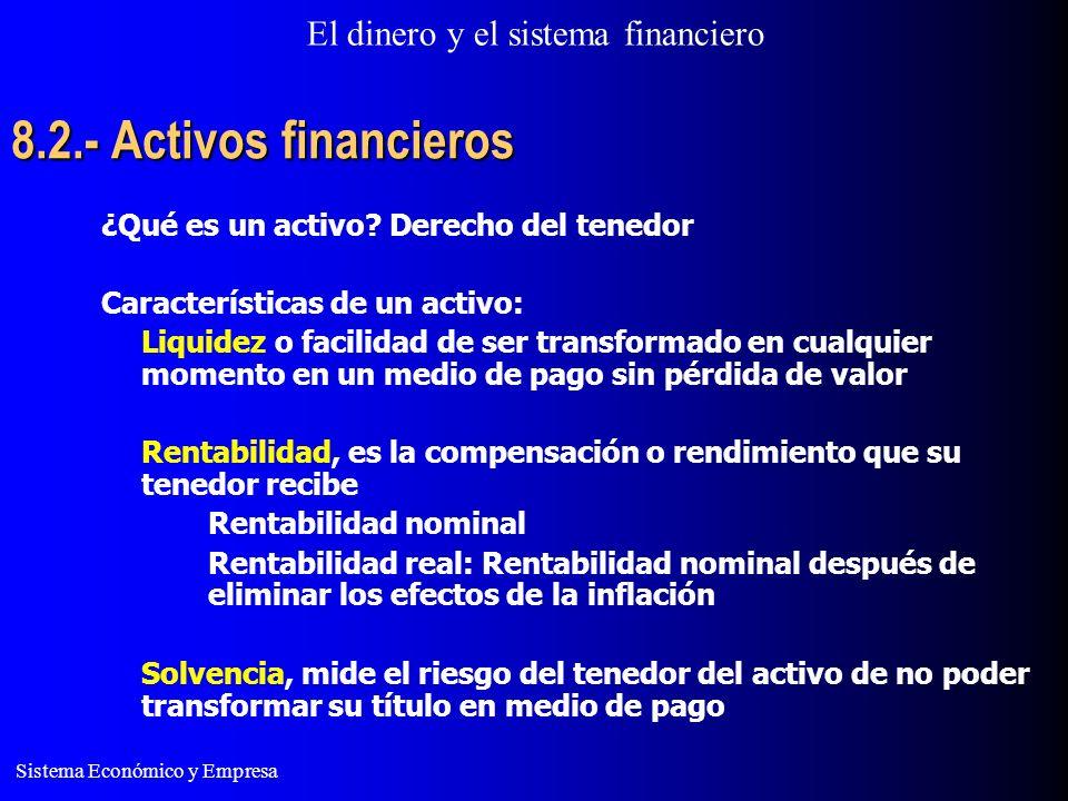 8.2.- Activos financieros ¿Qué es un activo Derecho del tenedor