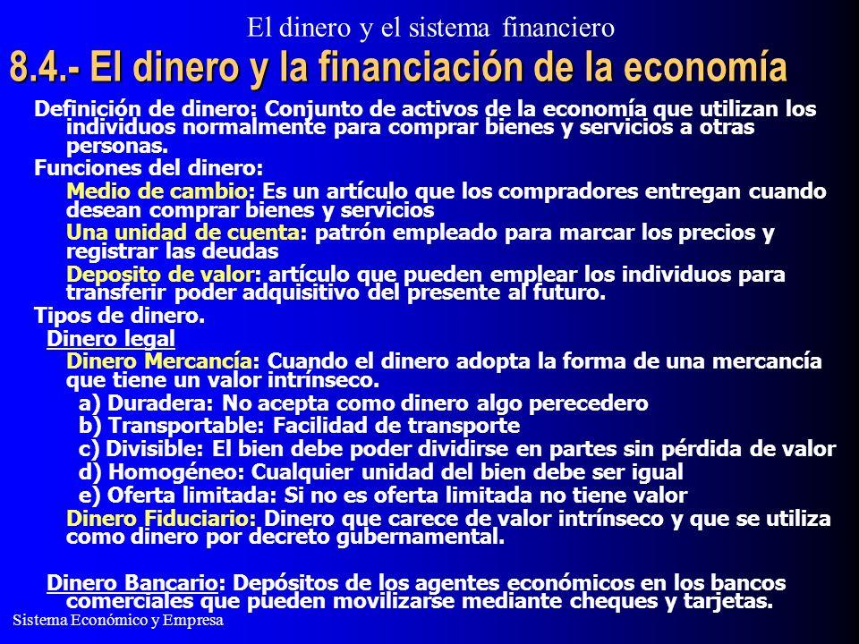 8.4.- El dinero y la financiación de la economía
