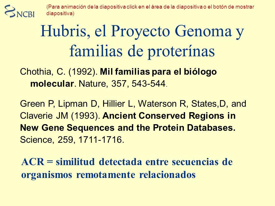 Hubris, el Proyecto Genoma y familias de proterínas