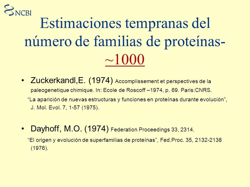 Estimaciones tempranas del número de familias de proteínas- ~1000