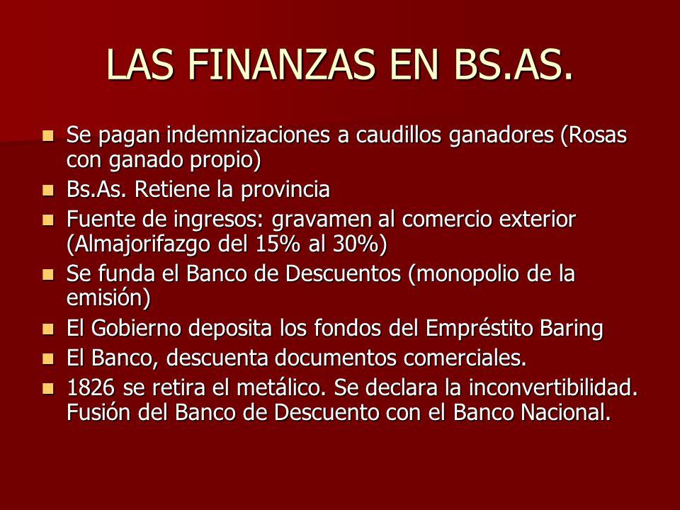 LAS FINANZAS EN BS.AS. Se pagan indemnizaciones a caudillos ganadores (Rosas con ganado propio) Bs.As. Retiene la provincia.