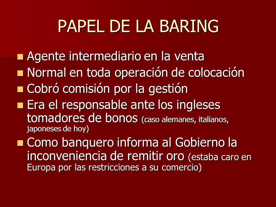 PAPEL DE LA BARING Agente intermediario en la venta