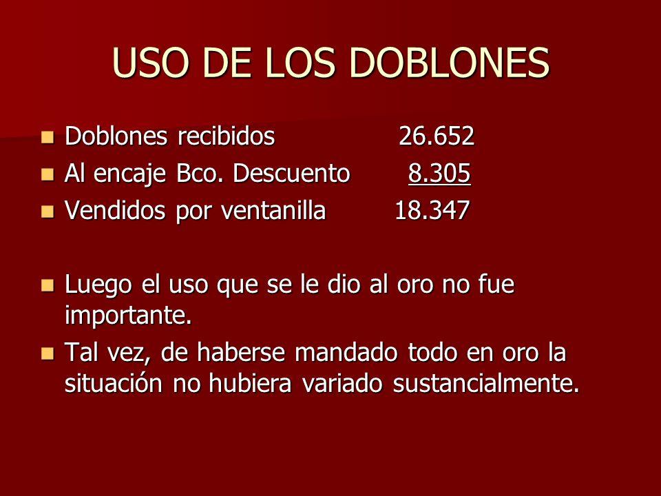 USO DE LOS DOBLONES Doblones recibidos 26.652