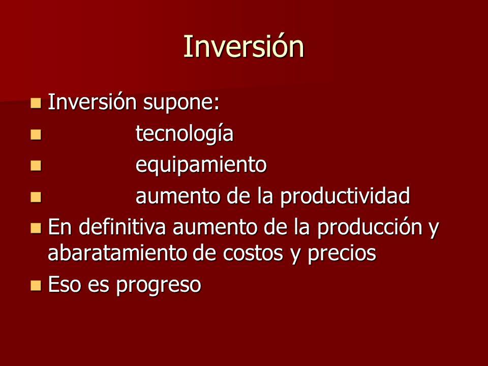Inversión Inversión supone: tecnología equipamiento