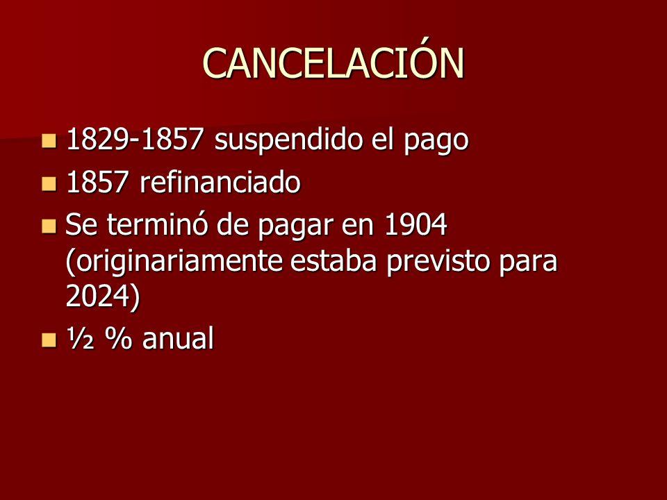 CANCELACIÓN 1829-1857 suspendido el pago 1857 refinanciado