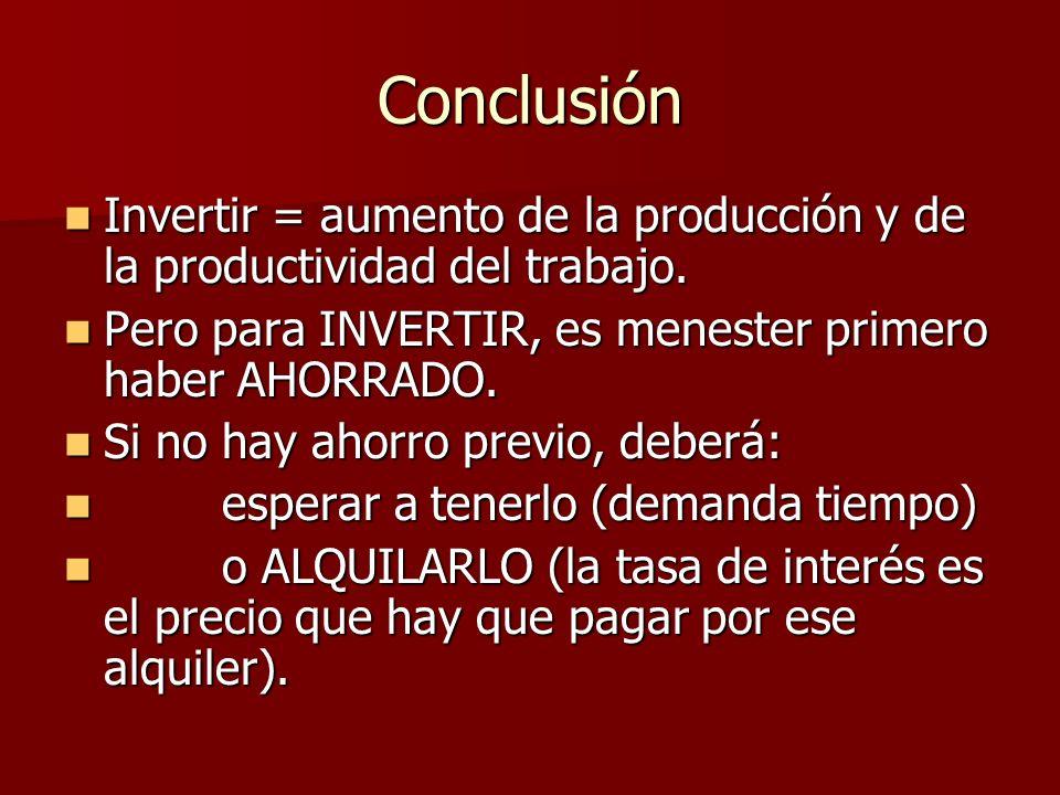 Conclusión Invertir = aumento de la producción y de la productividad del trabajo. Pero para INVERTIR, es menester primero haber AHORRADO.
