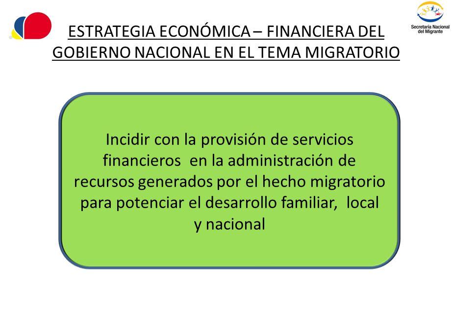 ESTRATEGIA ECONÓMICA – FINANCIERA DEL GOBIERNO NACIONAL EN EL TEMA MIGRATORIO