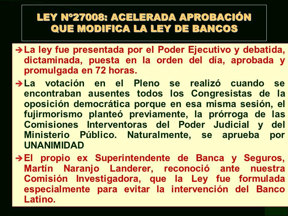 LEY Nº27008: ACELERADA APROBACIÓN QUE MODIFICA LA LEY DE BANCOS