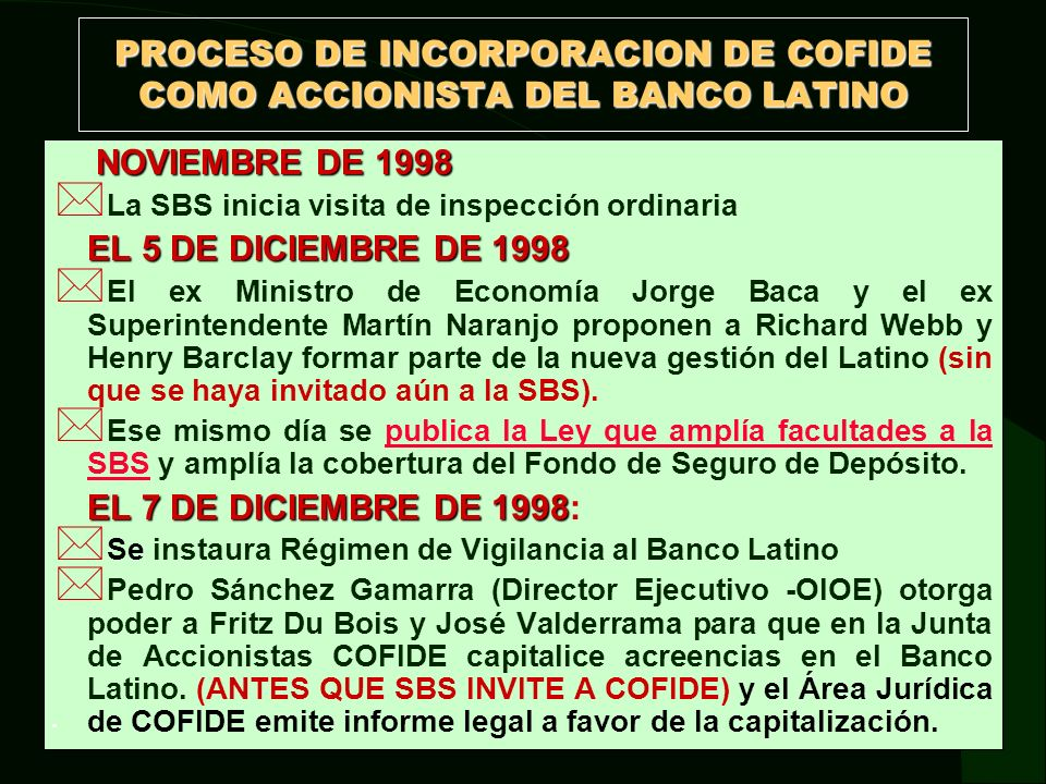 PROCESO DE INCORPORACION DE COFIDE COMO ACCIONISTA DEL BANCO LATINO