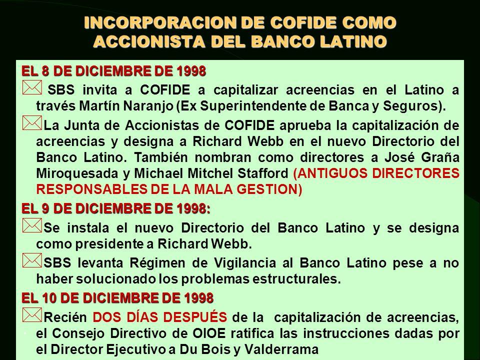 INCORPORACION DE COFIDE COMO ACCIONISTA DEL BANCO LATINO