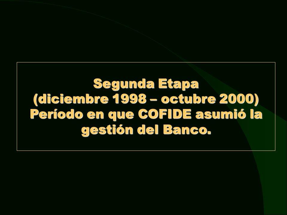 Segunda Etapa (diciembre 1998 – octubre 2000) Período en que COFIDE asumió la gestión del Banco.