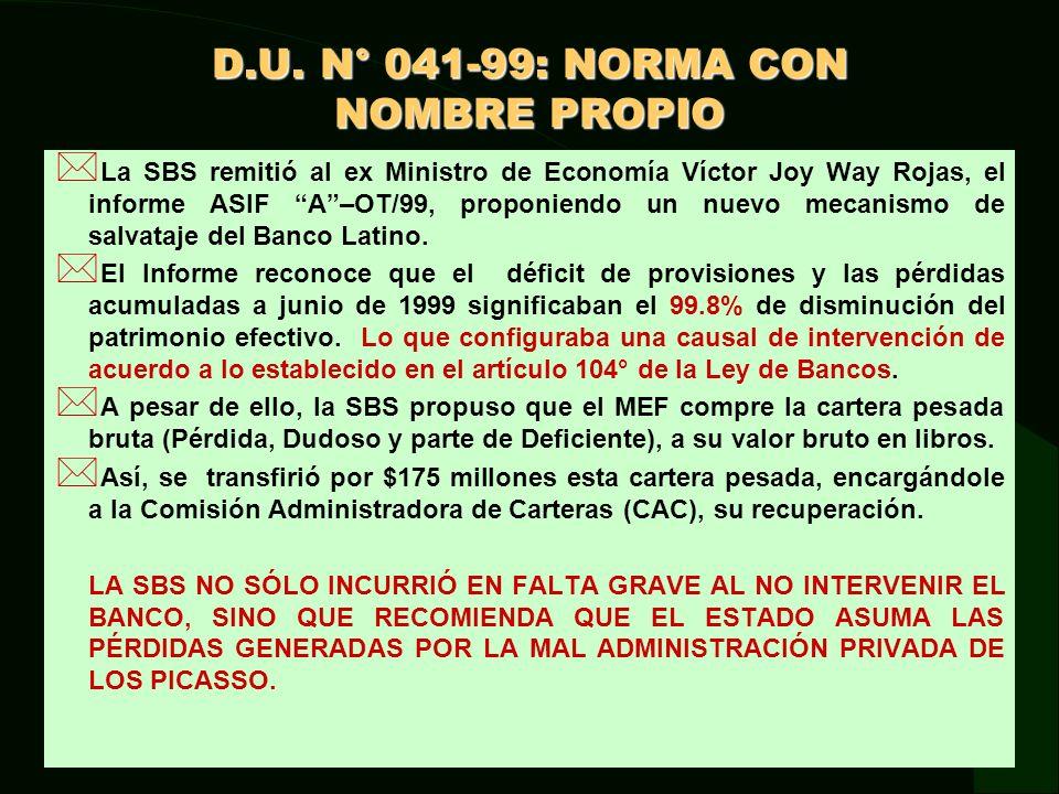 D.U. N° 041-99: NORMA CON NOMBRE PROPIO