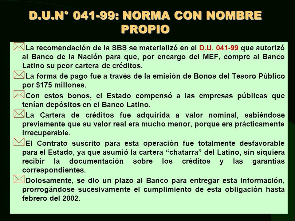 D.U.N° 041-99: NORMA CON NOMBRE PROPIO