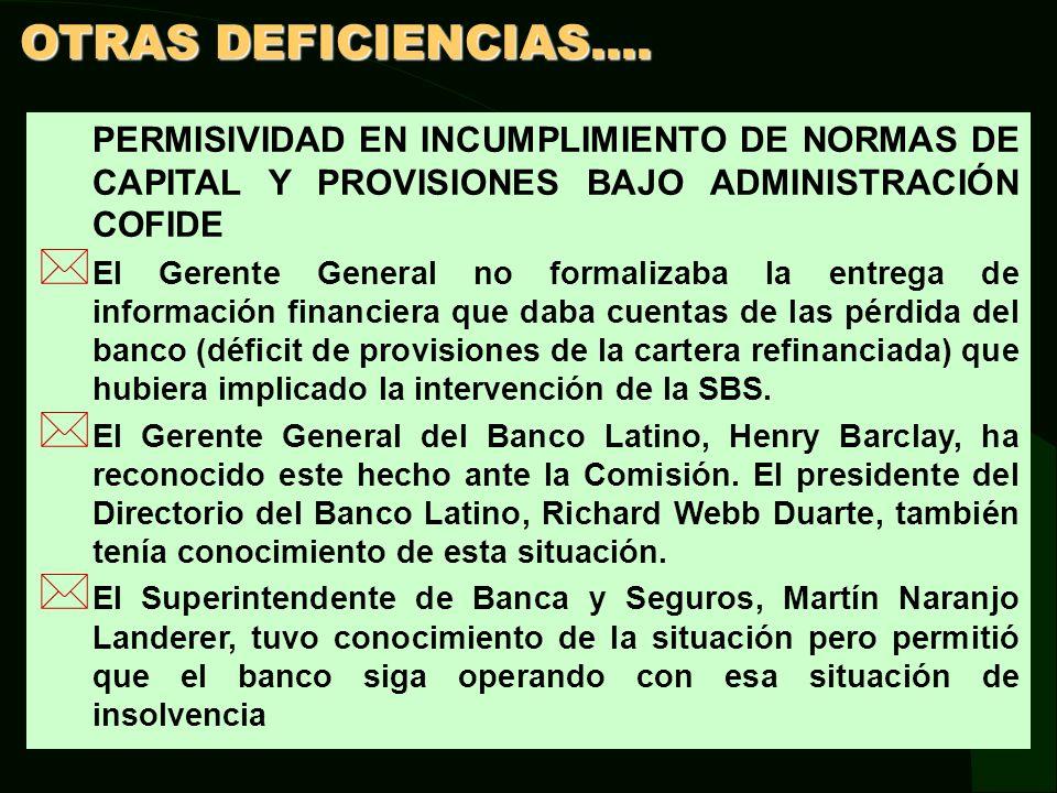 OTRAS DEFICIENCIAS.... PERMISIVIDAD EN INCUMPLIMIENTO DE NORMAS DE CAPITAL Y PROVISIONES BAJO ADMINISTRACIÓN COFIDE.