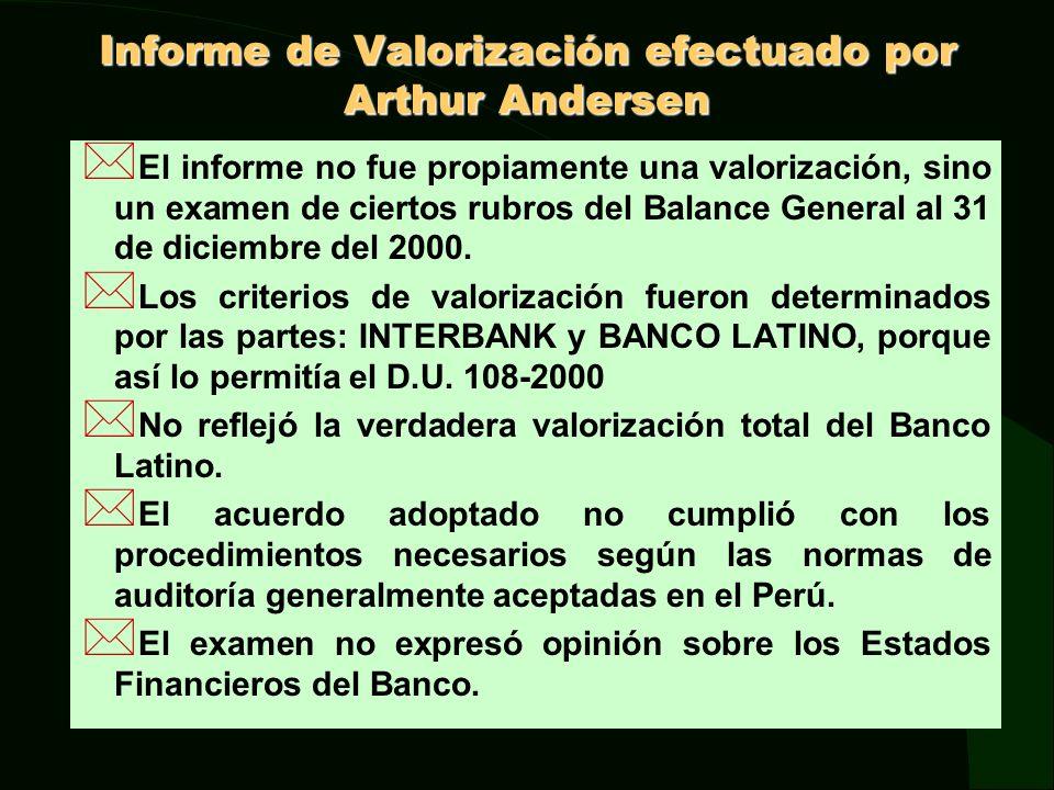 Informe de Valorización efectuado por Arthur Andersen